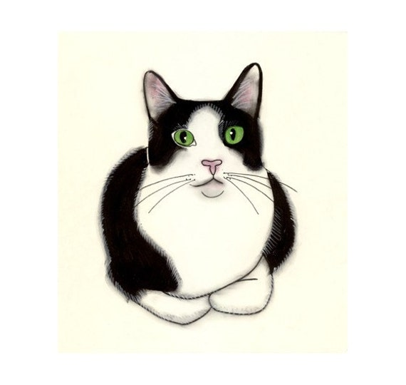 Cat Art - Green Eyes -  4 X 6 print of original drawing