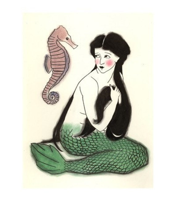 Little Mermaid Art -   The Interloper - 4 X 6 print