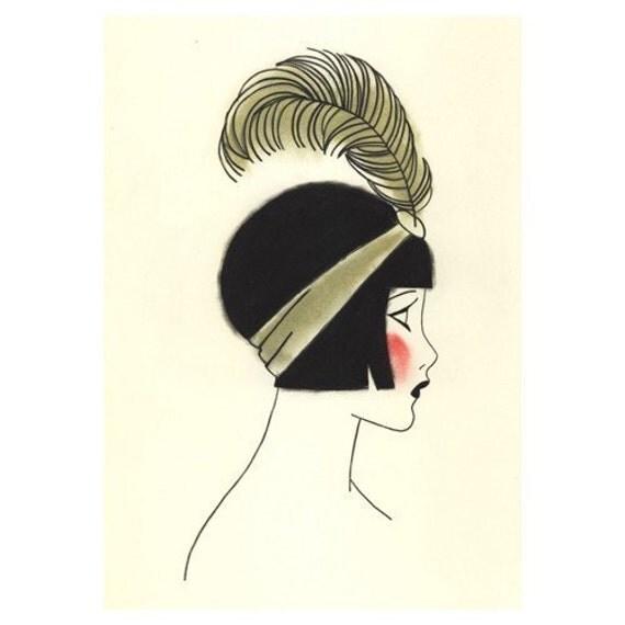 Poppy at the Ball: Art Deco Art print,  Fashion illustration, fashion print, art print, art deco - 4 or 3 SALE