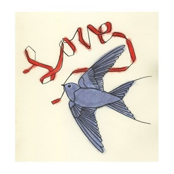 Typography Bird art - The Blue Bird of Love - 4 X 6 print - 4 for 3 SALE
