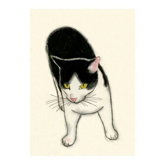 """Cat illustration art (print) - Out and About - 4"""" X 6"""" - 4 for 3 SALE"""