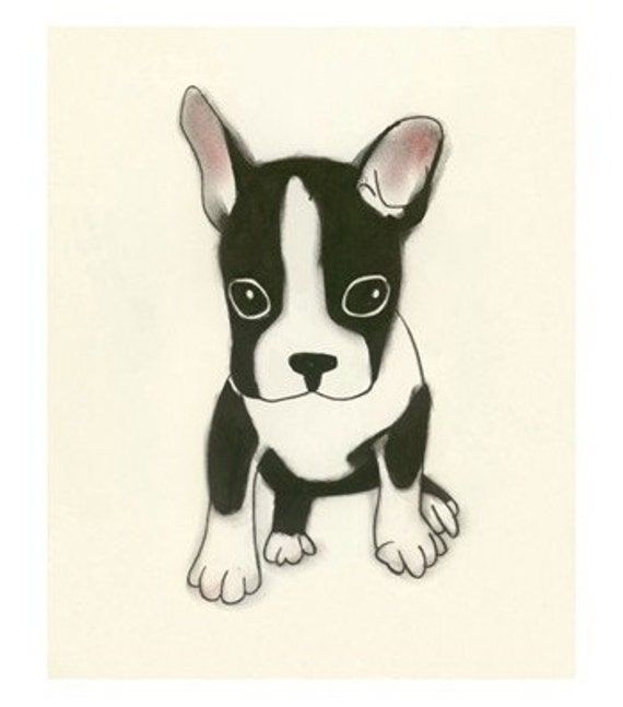 Dog Art print Boston Terrier Dog Art Print -  Good things come in small packages -  4 X 6 dog art print