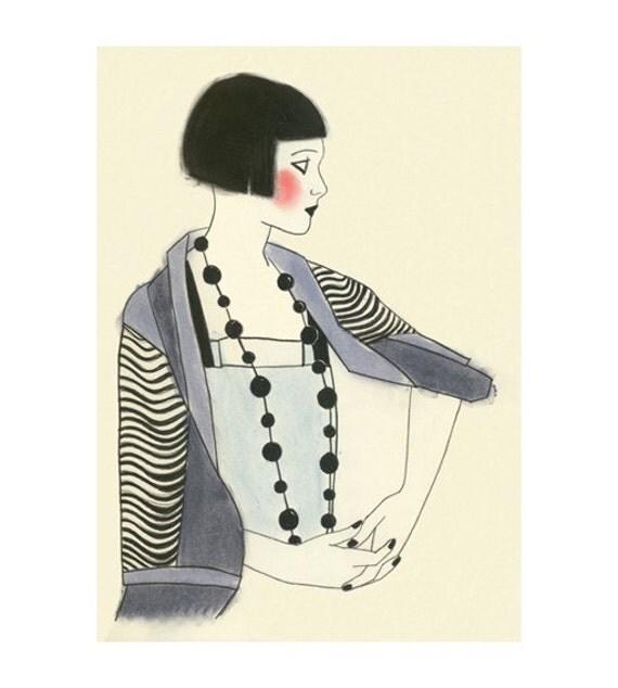 Art Deco fashion drawing 4 for 3 SALE Jools - 4 X 6  print