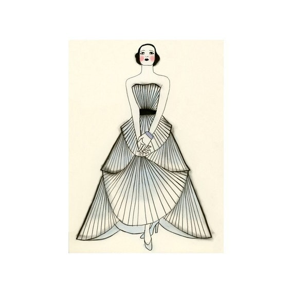 "Fashion illustration art print  Yvonne  -  8.3"" X 11.8"" - 4 for 3 SALE"
