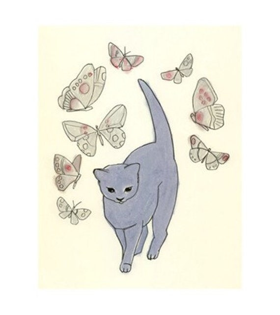 Nursery decor cat art -  Magic Blue Kitten (4 X 6 PRINT) - 4 for 3 SALE