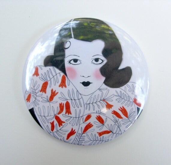 Art Deco Mirror - Pocket Mirror - Hand Mirror - Handbag Mirror - Lipstick Mirror Tenacity is my Secret