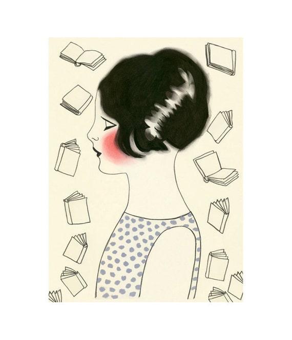 "Nursery art. Library art. Book art.  4 for 3 SALE The Librarian  -  4"" X 6"" print"