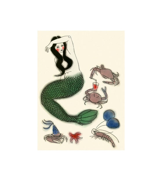 "Mermaid Art -  4 for 3 Sale -  Party Central - 4"" X 6"" print"