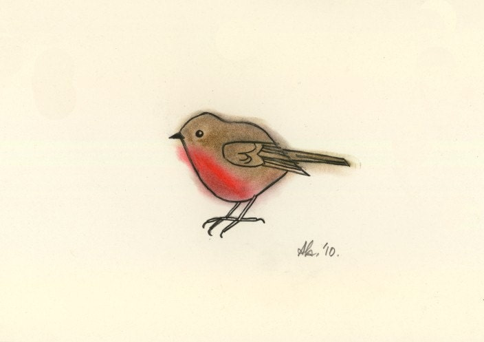 Little Robin Red Breast Original drawing charcoal and pastel