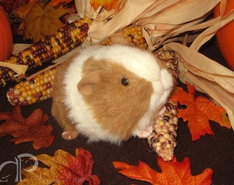Little Guinea Pig Plushie - Golden Brown and White