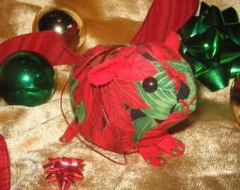 Guinea Pig Ornament - Red Poinsettias