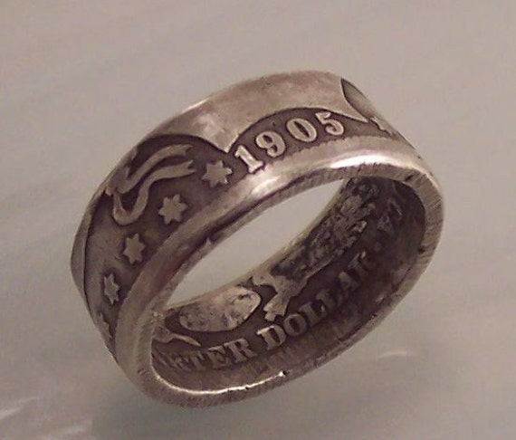 Silver coin ring Barber quarter dollar sz 6 1/2 Date 1905 nice gift for coin collector or any occasion