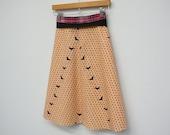 Put a Bird On It, A Line Skirt, Wrap Skirt, High Waisted Skirt, Pink Dots, Black Birds, Portlandia, size S/M