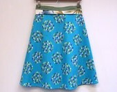 Knee Length Skirt, Womens A Line Skirt, Wrap Skirt, Turquoise, Rain Drops, size M/L