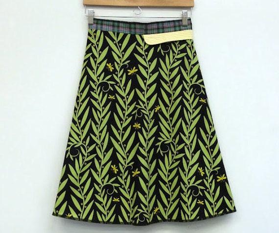 Womens Wrap Skirt Night Garden A Line Wrap Skirt High Waisted, size S/M