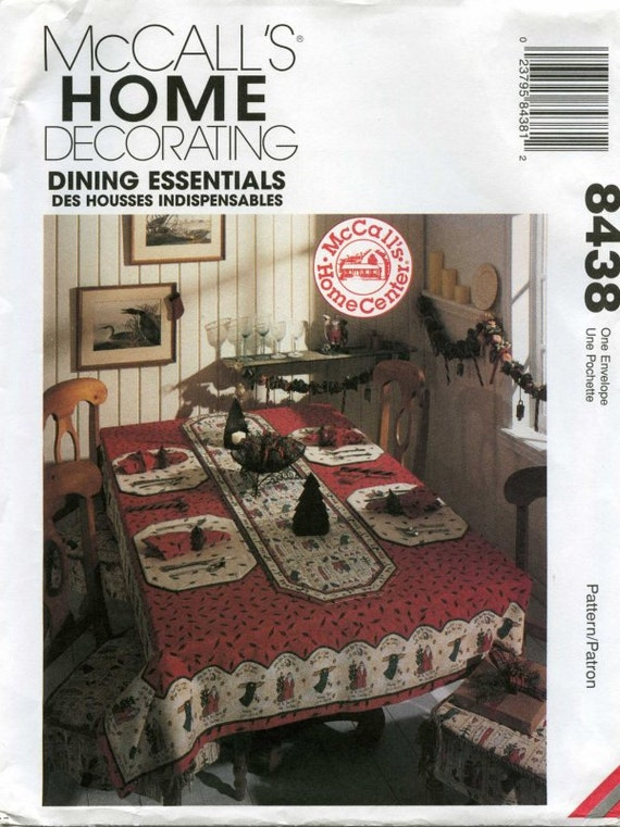 60 Percent OFF (New) Dining Tablecloths, Napkins, Chair pads, Table runners and Placemats patterns 8438 (Uncut) Original Factory Fold