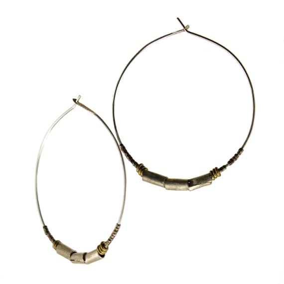 Simple silver hoops  -  mixed metal