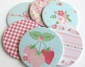 Coasters // Cottage Style // Pink and Blue Floral