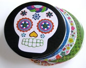 Sugar Skull Magnet // Day of the Dead // Dia de los Muertos Magnet // Black // Halloween