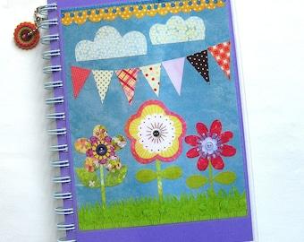 Bunting & Flowers Collage Notebook // Sketchbook