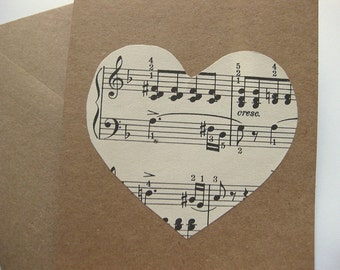 Valentine Card // Vintage Heart Sheet Music Card