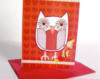 Owl Collage Card & Stationery //  Red Hearts