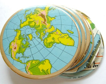 World Map Coasters // Recycled Vintage Atlas