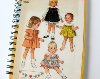Baby Dress Pattern Sewing Journal & Notebook // Recycled Vintage Toddler Pattern // Simplicity 8712