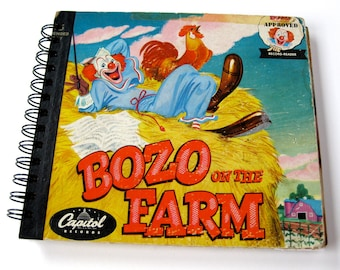 Bozo the Clown Journal // Recycled Vintage Children's Book  & Record // Bozo on the Farm
