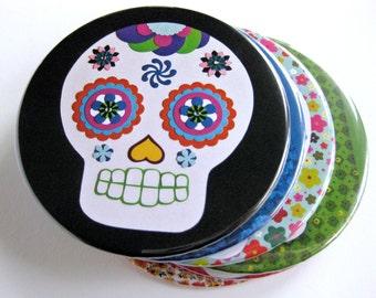 Sugar Skull Coasters // Day of the Dead // Dia de los Muertos Coasters // Halloween