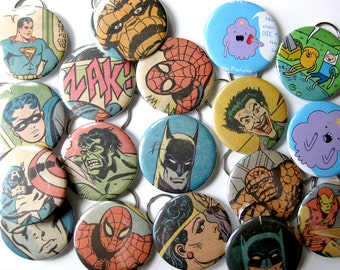 Wedding Favor Party Pack // Bottle Opener & Key Chain // Recycled Comic Book // Set of 20