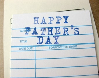Fathers Day Card // Personalized Custom Message Library Card