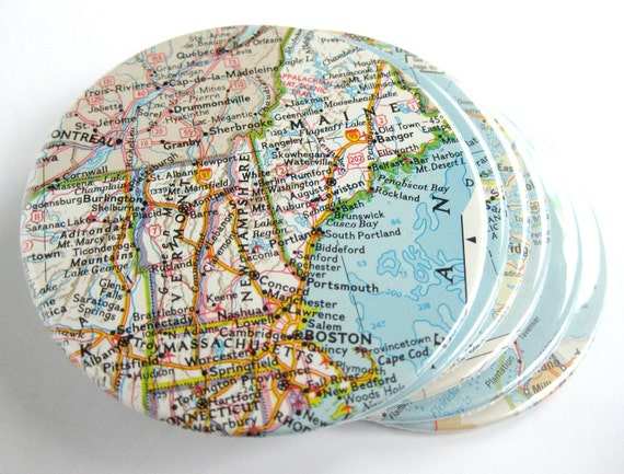 Map Coasters // Special listing for Amy // Choose Your Own Set of 6