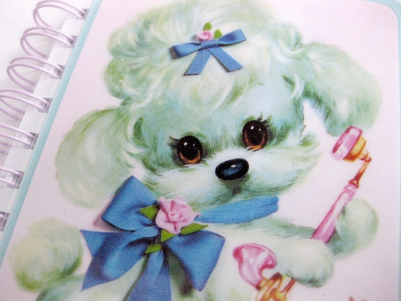 Dog Notebook // Vintage Greeting Card // Blue Puppy
