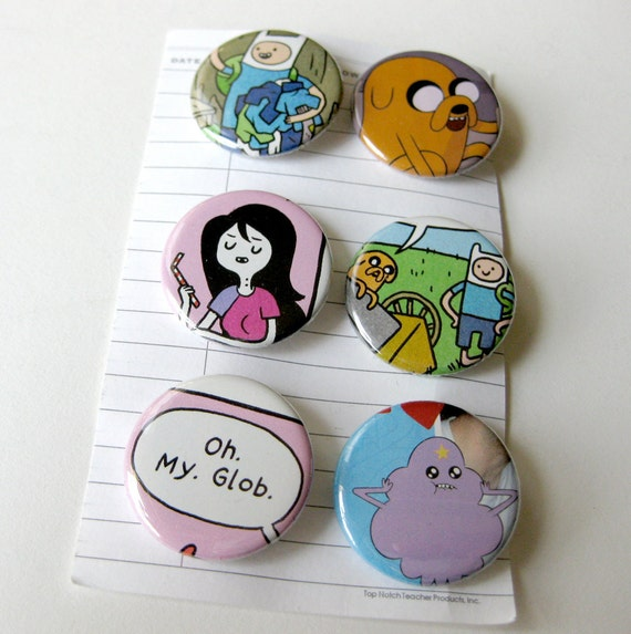 Adventure Time Comic Buttons Set of 6
