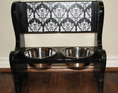 CHOW CHAIR Elevated Dog Bowl Bench Feeder Black Damask- SMALL- Free Shipping