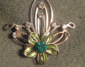 Vintage Gold Tone Estate Pin with Emerald and Clear Rhinestones