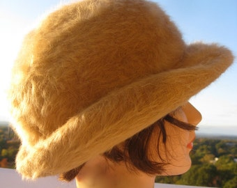 Vintage Angora Hat - Classic Fedora Style in Camel Color