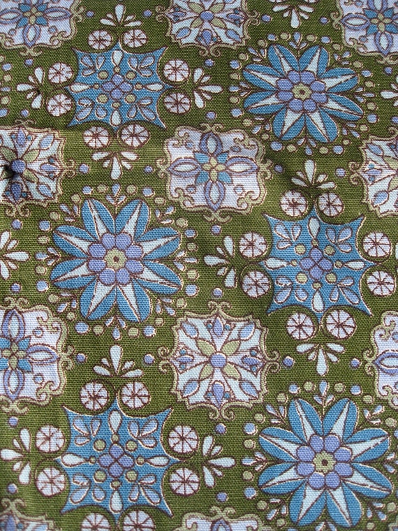 Vintage Waverly Bonded Fabric Colonial Coverlet Clipper in Pine Green, Turquoise and Lavender 1 Yard Plus