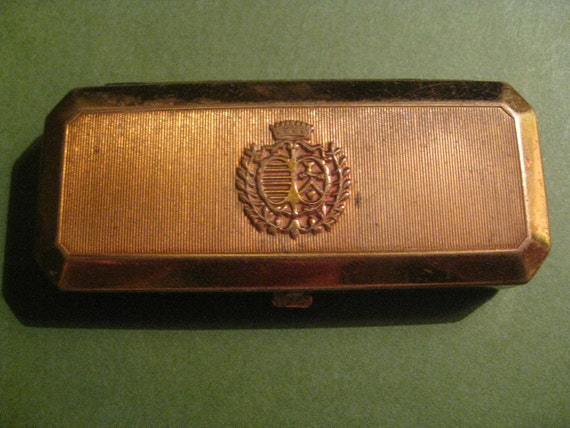Vintage Du Barry Mascara Compact by Richard Hudnut - Brass with Interior Mirror