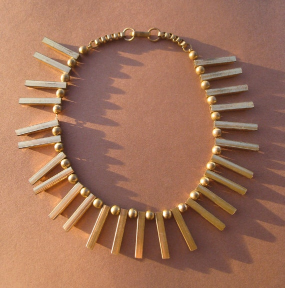 Vintage Gold Tone Necklace - Tribal in Style - Beautiful Brass Beads and Bars - Amazing.