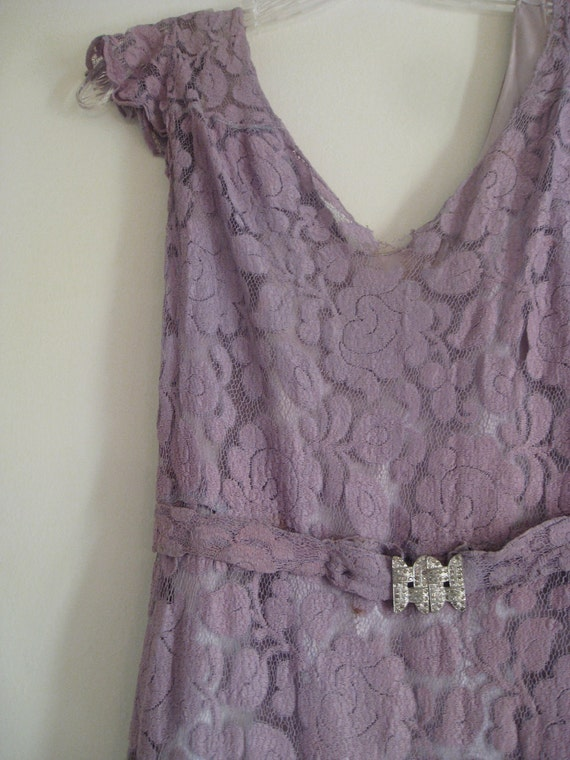 Reserved for MarilynsMaison...Vintage Lace Dress in Lovely Lilac - 3 Piece Set Includes Dress, Slip and Art Deco Belt with Rhinestones