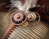 Earthy Steampunk - A Feather Hair Fascinator