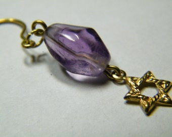 SALE // Amethyst with brass Star Of David, earrings, jewelry