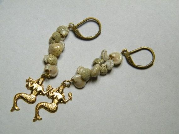 SALE // Mermaids: Delicate spiral shells with mermaid brass stampings, earrings