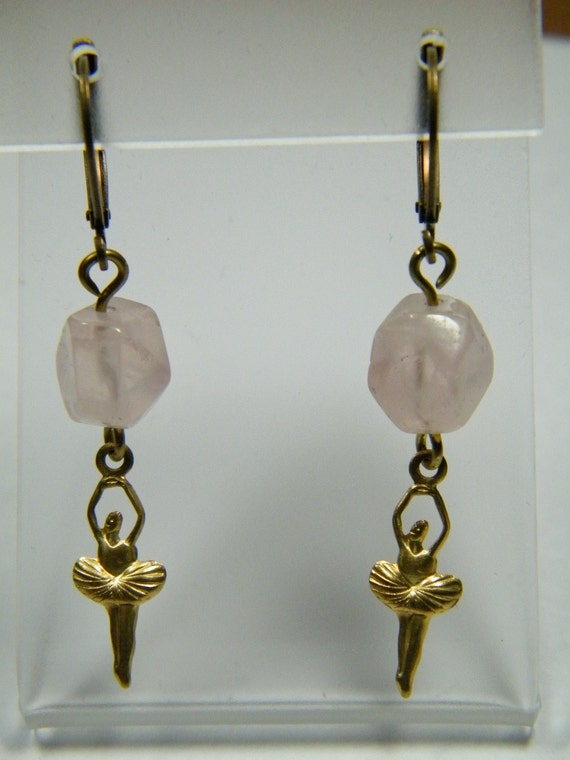 Hold for Esteban // Ballerina: tumbled faceted Rose Quartz pebbles with ballerina charms, earrings