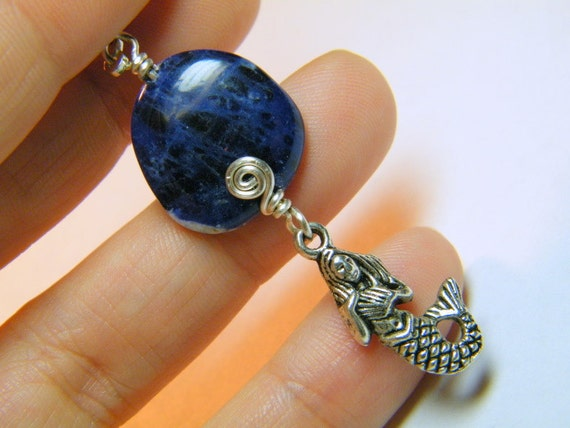 Charm: Natural Sodalite with a mermaid charm, embellishment, talisman, decoration