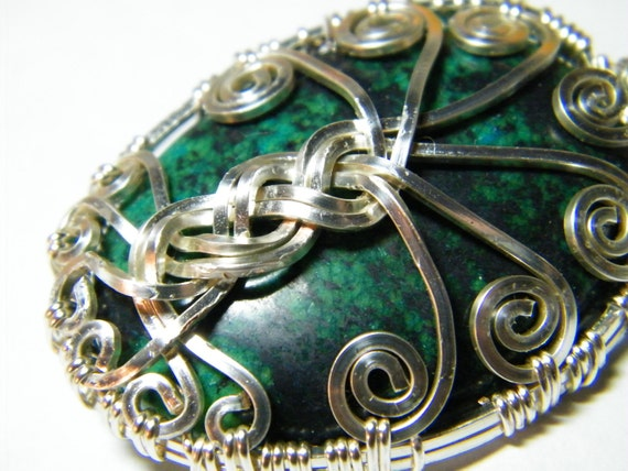 Tree Of Life:  Chrysocolla wire wrapped Tree Of Life pendant