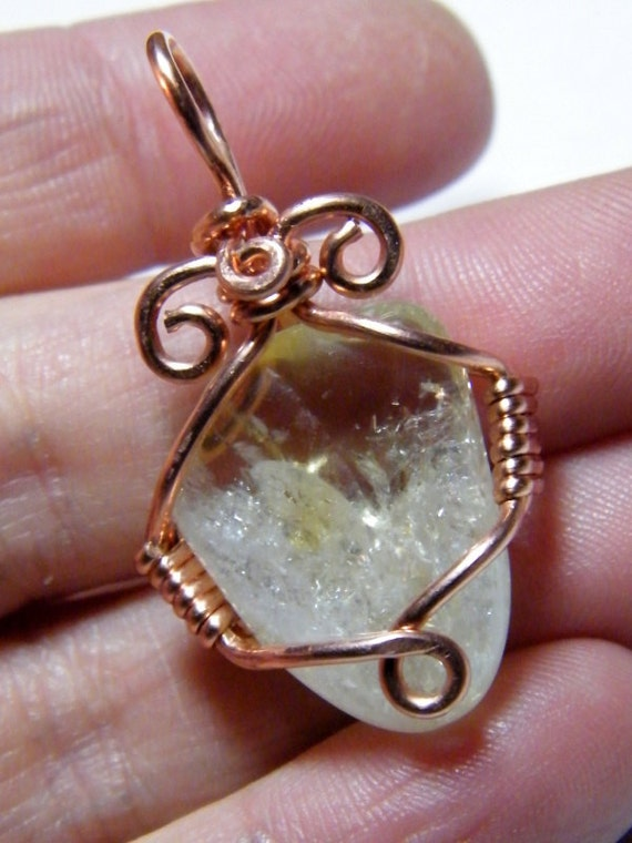 Tumbled Citrine: natural tumbled Citrine wrapped in copper, pendant