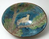 Footed Serving Dish with Bird Design- OOAK